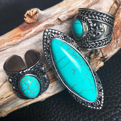 Beautiful Fashionable Exotic Alloy Turquoise Women's Rings (Set of 3)