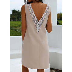 Lace/Solid Sleeveless Sheath Above Knee Sexy/Party Tank Dresses