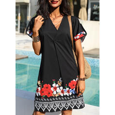 Solid Short Sleeves Shift Above Knee Casual/Boho Tunic Dresses