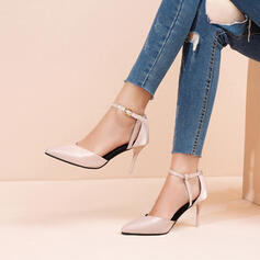 Women's Cloth Stiletto Heel Pumps Pointed Toe With Sequin Buckle shoes