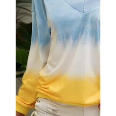 Tie Dye V-Neck One-Shoulder Long Sleeves Casual T-shirts