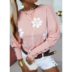 Print Floral Figure Round Neck Puff Sleeves Long Sleeves Button Up Casual Blouses