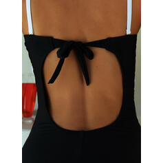 Splice color Strap Round Neck Sexy Boho One-piece Swimsuits