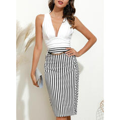 Striped Sleeveless Bodycon Knee Length Party Pencil Dresses