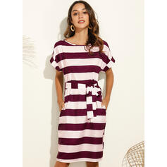 Striped Short Sleeves Bodycon Knee Length Casual Pencil Dresses