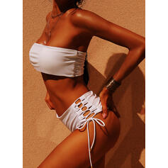Solid Color High Waist Strapless Sexy Bikinis Swimsuits