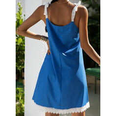 Lace/Print Sleeveless Shift Above Knee Casual/Vacation Tank Dresses