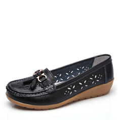 Women's Leatherette Low Heel Flats Closed Toe With Buckle Hollow-out shoes