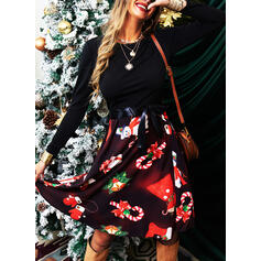 Print Long Sleeves A-line Knee Length Vintage/Christmas/Party/Elegant Skater Dresses
