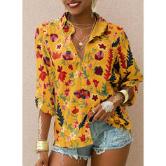 Print V-Neck 1/2 Sleeves Button Up Casual Knit Shirt Blouses
