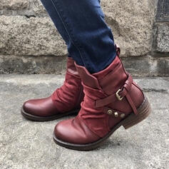 Women's Leatherette Chunky Heel Boots Ankle Boots Round Toe With Rivet Buckle shoes
