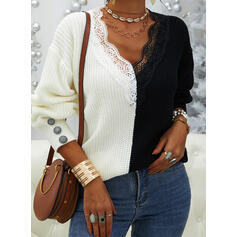 Color Block Patchwork Lace V-Neck Casual Sweaters