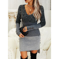 Color Block Long Sleeves Sheath Asymmetrical Casual Sweater Dresses