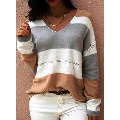 Color Block V-Neck Casual Sweaters