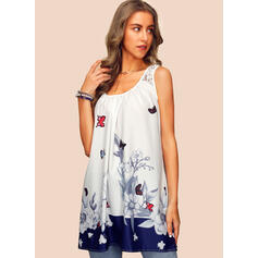 Floral Animal Print Lace Round Neck Sleeveless Casual Tank Tops