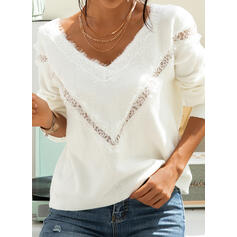Solid Lace V-Neck Long Sleeves Casual Elegant Knit Blouses