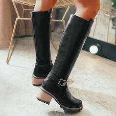 Women's PU Chunky Heel Knee High Boots Round Toe With Zipper Solid Color shoes