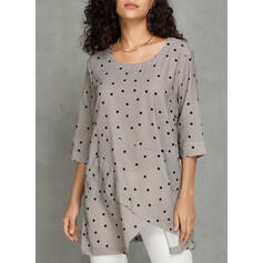 PolkaDot Round Neck 1/2 Sleeves Casual Knit Blouses