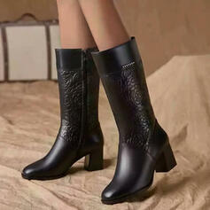 Women's Leatherette Chunky Heel Mid-Calf Boots Pointed Toe With Zipper Floral shoes