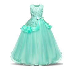 Girls Round Neck Solid Bow Cute Party Flower Girl Dress