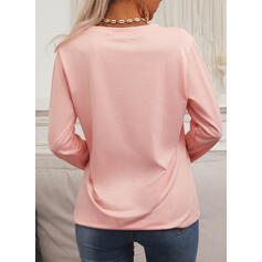 Print Floral Letter Round Neck Long Sleeves Casual T-shirts