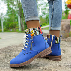 Women's Microfiber Low Heel Ankle Boots Martin Boots Round Toe With Zipper Lace-up Splice Color shoes
