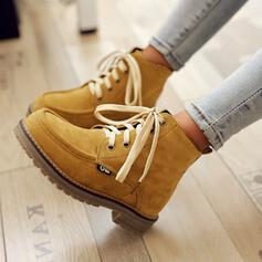 Women's PU Low Heel Flat Heel Chunky Heel Boots Ankle Boots Snow Boots High Top Low Top With Lace-up Solid Color shoes