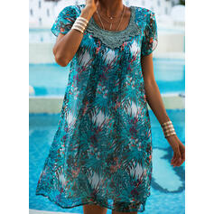 Lace/Print Short Sleeves Shift Above Knee Casual/Vacation Dresses