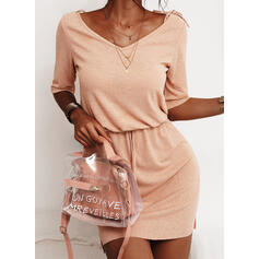 Solid 1/2 Sleeves Sheath Above Knee Casual Dresses