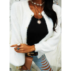 Solid Chunky knit Casual Cardigan