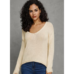 Solid V-Neck Loose Sweaters