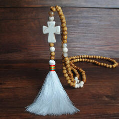 Beautiful Fashionable Exotic Crystal Wooden Beads With Tassels Necklaces
