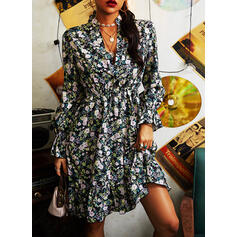 Print/Floral Long Sleeves A-line Knee Length Casual Skater Dresses