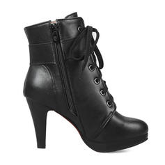 Women's Leatherette Stiletto Heel Platform Boots Mid-Calf Boots With Buckle shoes