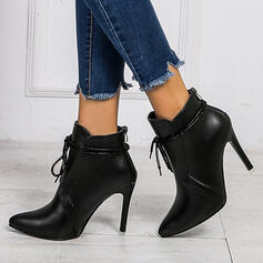 PU Stiletto Heel Boots Ankle Boots High Top With Lace-up Solid Color shoes