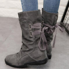 Women's Leatherette Flat Heel Boots Mid-Calf Boots With Lace-up shoes