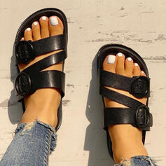 Women's PU Flat Heel Sandals Flats Peep Toe Slippers With Buckle shoes