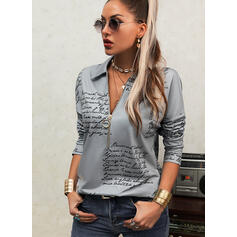 Print Figure Lapel Long Sleeves Casual Blouses