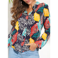 Print Lapel Long Sleeves Button Up Casual Shirt Blouses