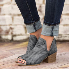 PU Chunky Heel Sandals Peep Toe With Others shoes