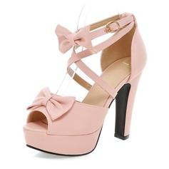 Women's Leatherette Chunky Heel Peep Toe Platform Pumps With Bowknot Buckle