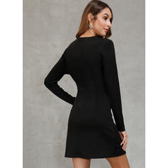 Color Block Long Sleeves Sheath Above Knee Party Dresses