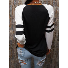 Print Color Block V-Neck Long Sleeves Casual Blouses