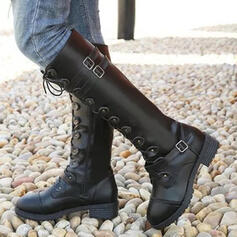 Women's PU Chunky Heel Knee High Boots Round Toe With Buckle Lace-up shoes