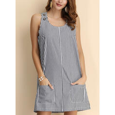 Striped Sleeveless Shift Above Knee Casual Tank Dresses