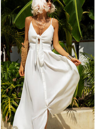 Solid Sleeveless A-line Slip/Skater Little Black/Sexy/Party/Vacation Maxi Dresses