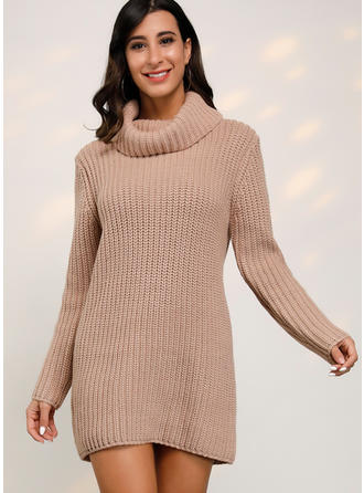 Solid Ribbed Chunky knit Cowl Neck Sweater Dress