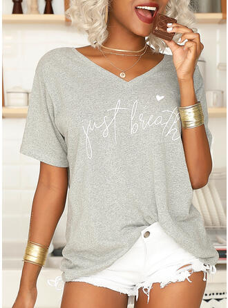 Print V-Neck Short Sleeves T-shirts