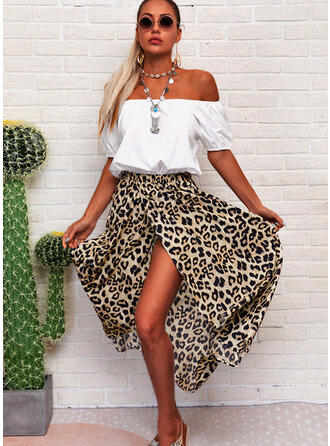 Leopard 1/2 Sleeves A-line Asymmetrical Casual Skater Dresses
