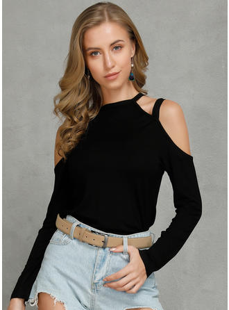 Solid Cold Shoulder Long Sleeves Casual Sexy Knit T-shirts